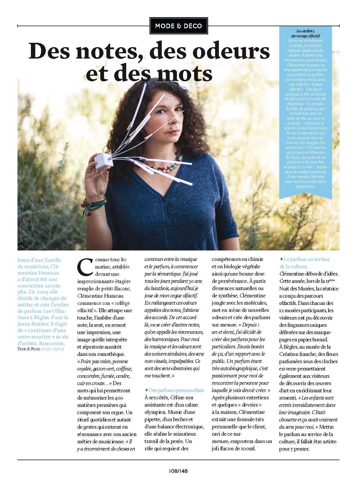 article vivre bordeaux - des notes, des odeurs et des mots - Clémentine Humeau à Bordeaux